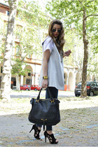 black Chloe bag - black tosca shoes - heather gray gianfranco ferre jacket