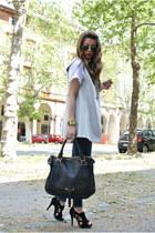 black Chloe bag - black tosca shoes - heather gray gianfranco ferre jacket
