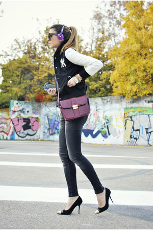 ruby red hiburama bag - charcoal gray Zara jeans - dark gray romwe cardigan
