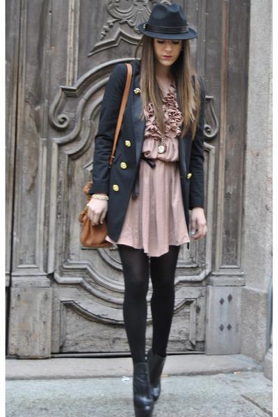 black asos boots - light pink H&M dress - black Moschino blazer