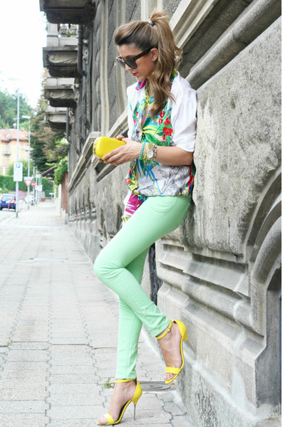 hot pink gianfranco ferree shirt - aquamarine romwe jeans - yellow H&M bag
