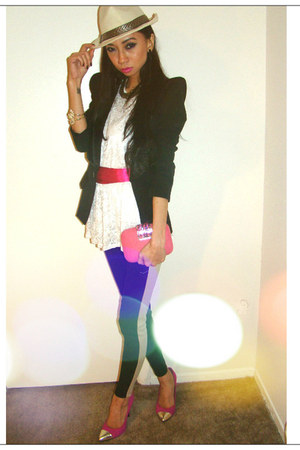 shoulder jacket Balmain blazer - striped legging Forever21 leggings - Nyla top