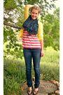 Yellow-merona-cardigan-pink-forever-21-shirt-blue-american-eagle-jeans-bro
