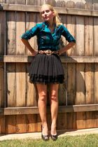 blue Vanity shirt - brown thrifted belt - black skirt - black Delicious shoes