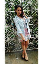 sky blue denim Walmart blouse - Forever 21 dress