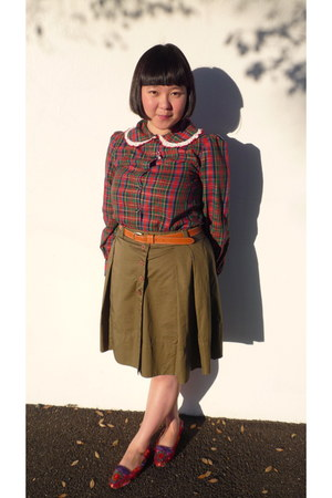 ruby red American Rag blouse - tawny thrifted belt - olive green Mastina skirt -