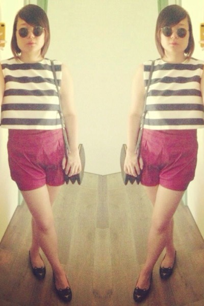 blue selfmade top - black Imitation bag - ruby red asos shorts