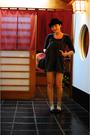 Black-ebay-hat-gray-thrifted-top-brown-neneee-shorts-silver-socks-black-