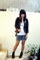 black unbranded blazer - white self-made top - black Austin shoes