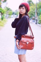 ruby red Local store hat - black Uniqlo sweater - burnt orange vintage bag