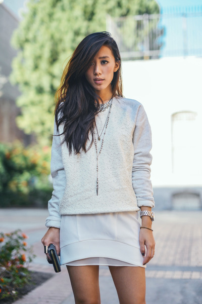 ivory VS pink sweater - sheer layered Line &amp; Dot skirt