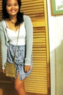 Blue-nerelles-made-by-me-skirt-gray-random-cardigan-brown-dockers-purse-wh
