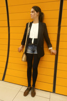 brown fur Bimba&Lola shoes - black Mango blazer - nude asos bag