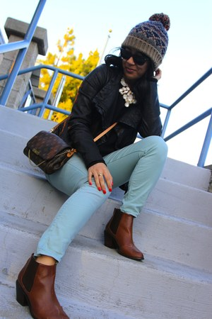 forever hat - brown H&M boots - aquamarine 7 for all mankind jeans