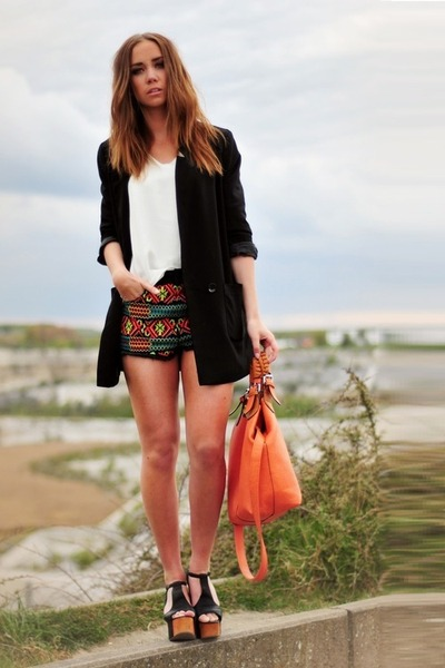 tribal Topshop shorts - H&M bag - Jeffrey Campbell wedges