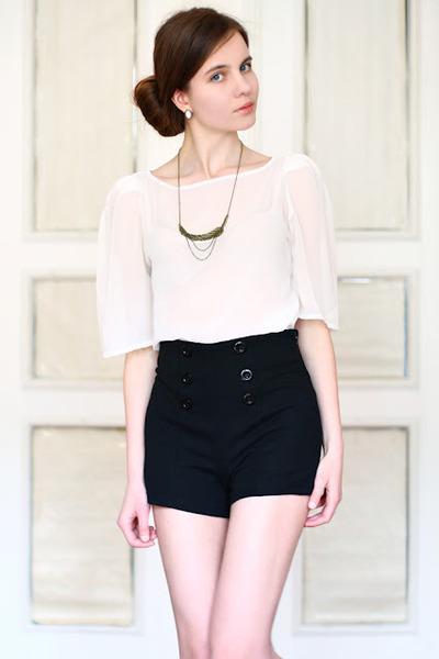 high-waist asos shorts - LOLA necklace - American Apparel top