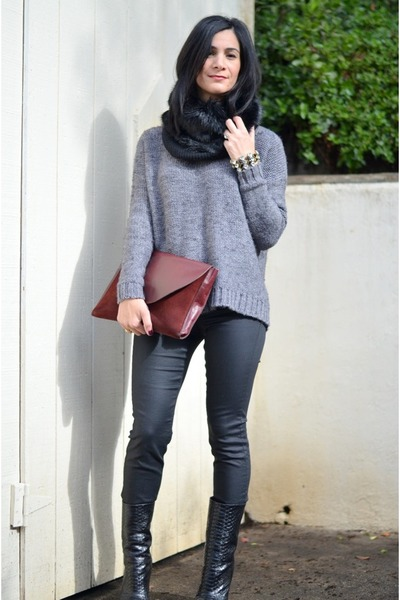 black Giuseppe Zanotti boots - heather gray madewell sweater