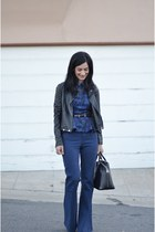 blue Alice & Olivia pants - black Forever 21 jacket - black Louis Vuitton bag