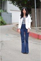 white H&M blazer - gray Gap shirt - navy Alice  Olivia pants