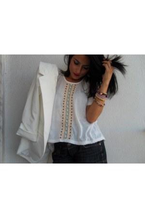 white blazer - white blouse - yellow sandals