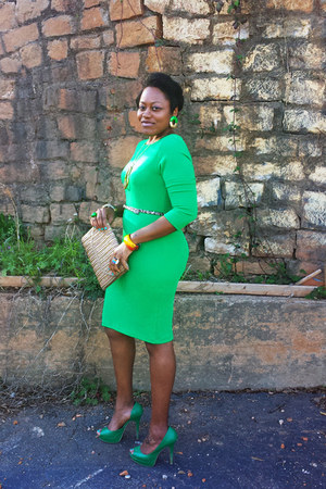 green Sharagano dress - green Brash heels