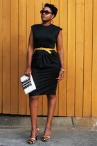 gold belt - black Lloyd Williams dress - animal print heels