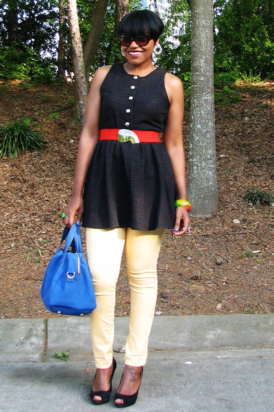 black BB Dakota dress - light yellow jeans - red belt - black Nine West heels