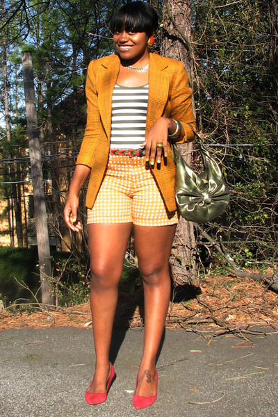 mustard tweed thrifted vintage blazer - brick red Nine West shoes