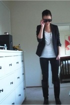 H&M jacket - H&M pants - f21 top - Steve Madden boots - f21 necklace