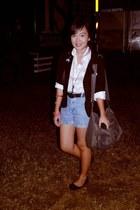 black blazer - light pink babo top - light blue shorts - black
