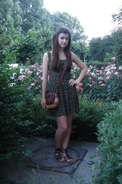 green Zara dress - brown purse - brown shoes