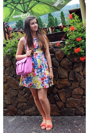 floral dress - bubble gum Deichmann bag - orange sandals