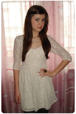 white Atmosphere dress - black tights - brown Accessorize