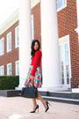 Red-marcs-jumper-red-floral-vintage-skirt-black-christian-louboutin-heels