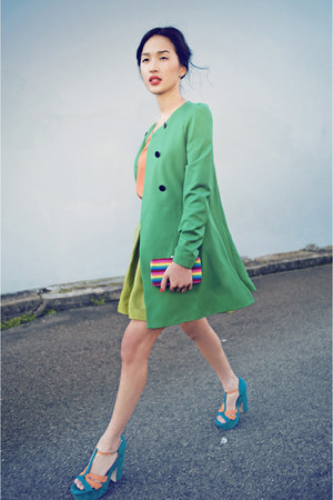 blue betts heels - turquoise blue Zara coat - hot pink Bag bag - orange Zara top