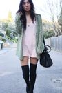 Green-gary-pepper-vintage-cardigan-pink-gary-pepper-vintage-dress-black-tops