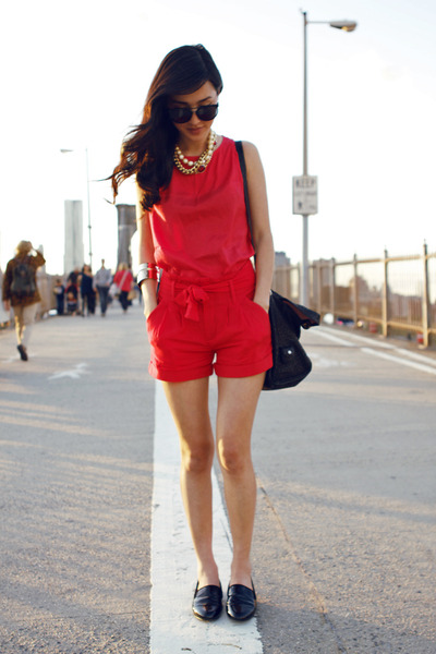 red H&amp;M shorts - black See by Chloe bag - black Flint from Ruby sunglasses