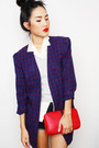 purple gary pepper vintage jacket - silver Marks & Spencer jumper - blue Camilla