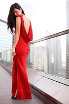 red Ruby dress - gold Kenneth Jay Lane bracelet