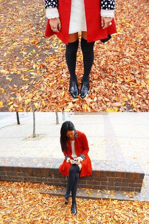 red vintage coat - black vintage shoes - black Topshop socks - white vintage top