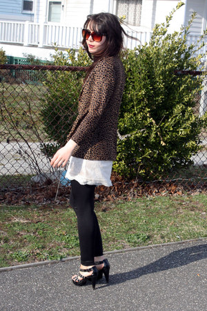 white H&amp;M dress - black American Apparel leggings - bronze vintage blazer - ligh