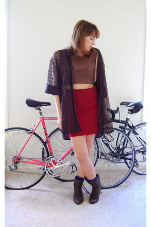 black lace thrifted jacket - ruby red pencil skirt modcloth skirt