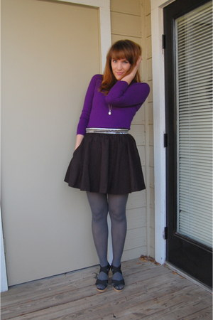 purple banana republic sweater - charcoal gray random brand tights