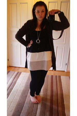 black Vila dress - brown H&M cardigan - silver Forever 21 necklace