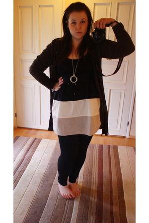 black Vila dress - brown H&M cardigan - silver Forever 21 necklace