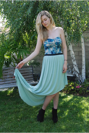 black black suede wedges - aquamarine Silence  Noise skirt