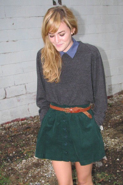 dark green Forever21 skirt - brown Steve Madden shoes