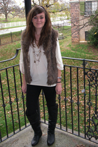 etsycom top - Masons vest - eVanity pants - Aldo boots - Forever21 necklace - vi