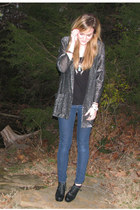 silver thrifted goodwill jacket - black Target boots - navy Forever21 jeans