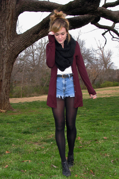 maroon Forever21 cardigan - black thrifted boots - black Forever21 scarf